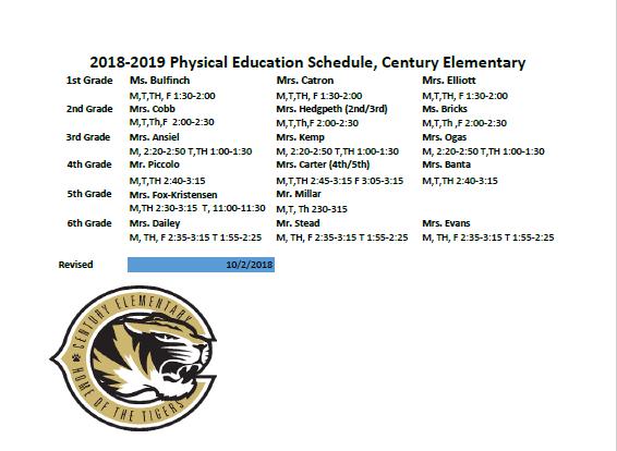 PE Schedule